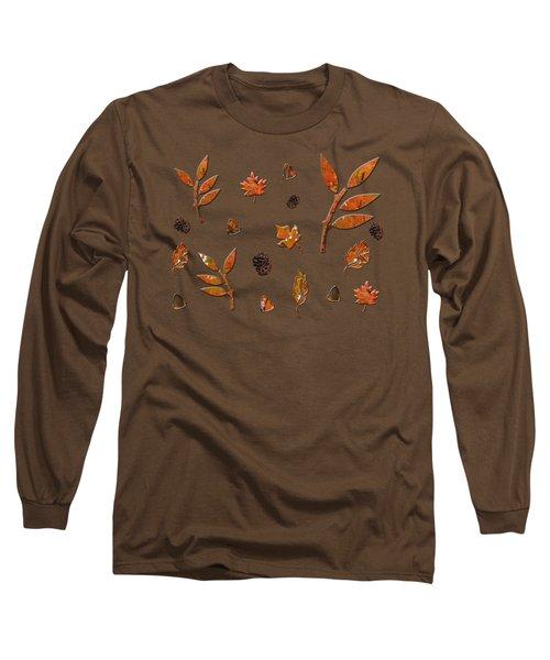 Orange Leaves Pine Cones Long Sleeve T-Shirt