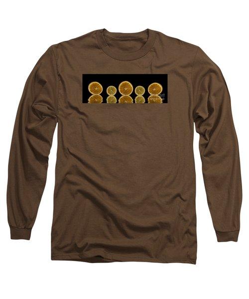 Orange Lemon Reflection Long Sleeve T-Shirt by Shirley Mangini