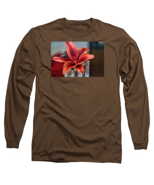 Long Sleeve T-Shirt featuring the photograph Orange Lilly And Her Companion Abstract by Diana Mary Sharpton