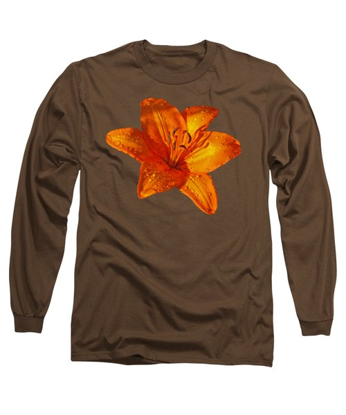 Orange Lily In Sunshine After The Rain Long Sleeve T-Shirt by Gill Billington