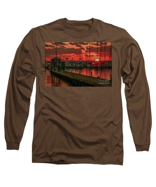 Orange Marina Sunrise Long Sleeve T-Shirt