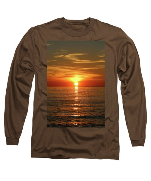 Long Sleeve T-Shirt featuring the photograph Orange Sunset Lake Superior by Paula Brown