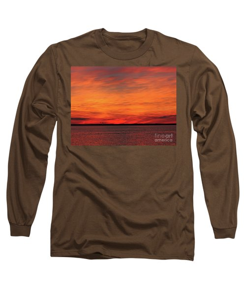 Orange Sunset On The New Jersey Shore Long Sleeve T-Shirt
