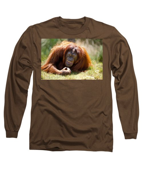 Orangutan In The Grass Long Sleeve T-Shirt by Garry Gay