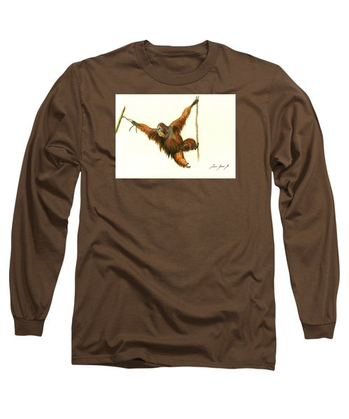 Orangutan Long Sleeve T-Shirt by Juan Bosco