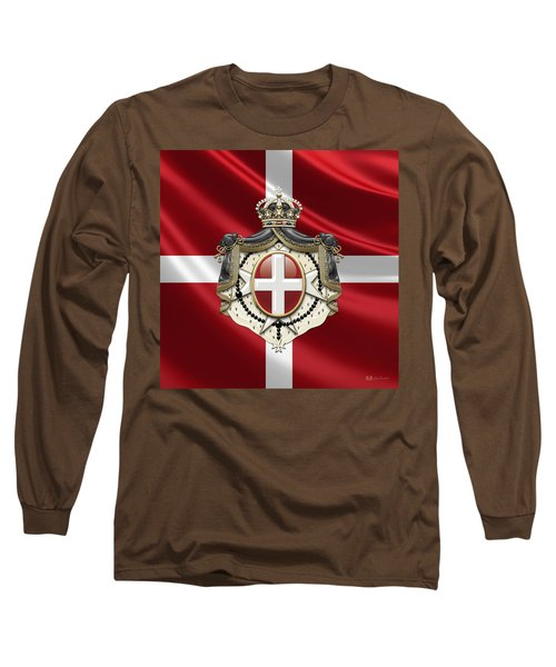 Order Of Malta Coat Of Arms Over Flag Long Sleeve T-Shirt