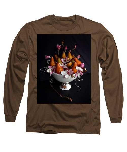 Organic Bosc Pears And Magnolia Blossoms Long Sleeve T-Shirt