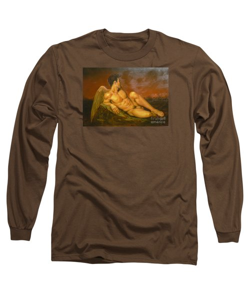 Original Oil Painting Art  Male Nude Of Angel Man On Canvas #11-16-01 Long Sleeve T-Shirt by Hongtao Huang