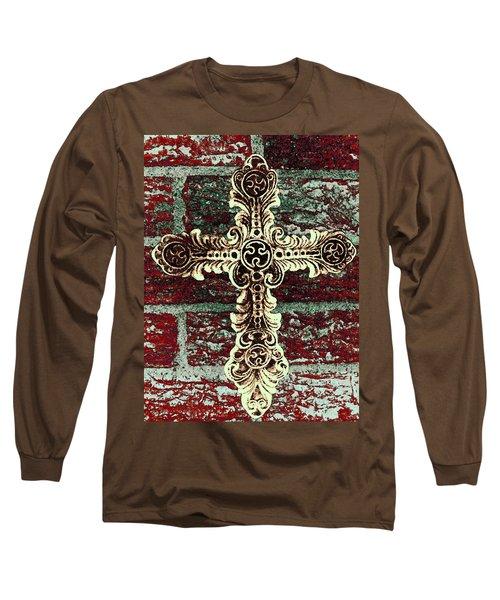 Ornate Cross 1 Long Sleeve T-Shirt by Angelina Vick