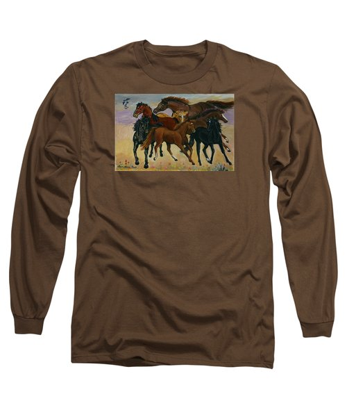 Long Sleeve T-Shirt featuring the painting Our Horses by Dawn Senior-Trask