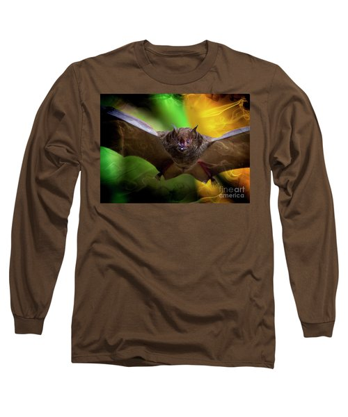 Long Sleeve T-Shirt featuring the photograph Pale Spear-nosed Bat In The Amazon Jungle by Al Bourassa