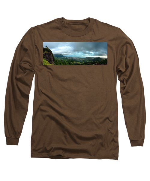 Long Sleeve T-Shirt featuring the photograph Pali Lookout Dawn by Dan McManus