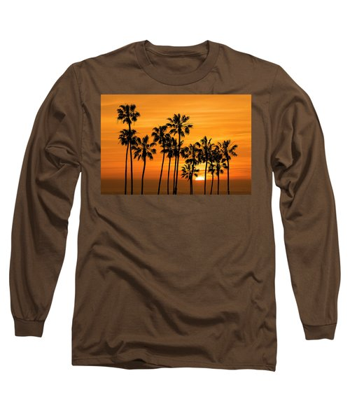 Long Sleeve T-Shirt featuring the photograph Palm Trees At Sunset By Cabrillo Beach by Randall Nyhof