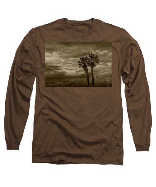 Long Sleeve T-Shirt featuring the photograph Palm Trees By Borrego Springs In Sepia Tone by Randall Nyhof