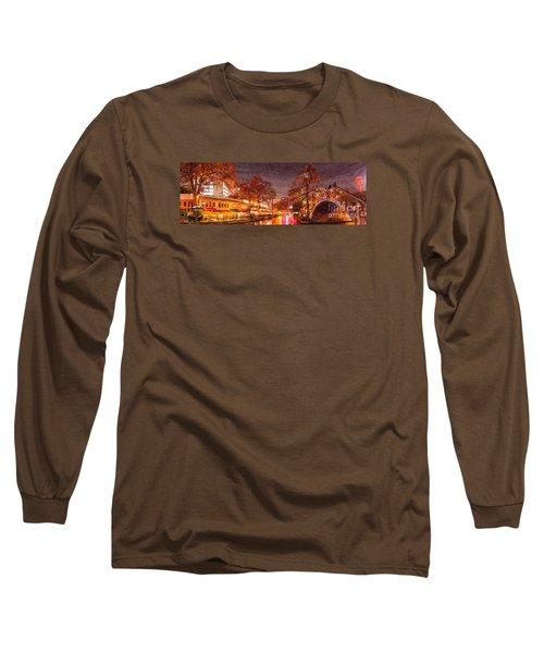 Panorama Of The San Antonio Riverwalk During Christmas - San Antonio Bexar County Texas Long Sleeve T-Shirt