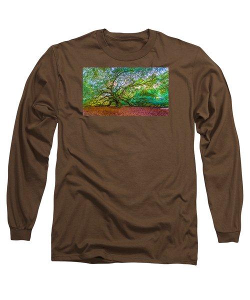 Panoramic Angel Oak Tree Charleston Sc Long Sleeve T-Shirt by John McGraw