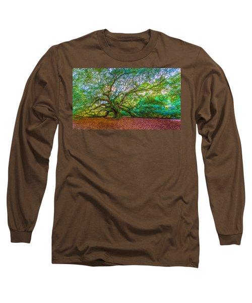 Panoramic Angel Oak Tree Charleston Sc Long Sleeve T-Shirt
