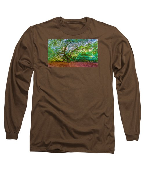 Panoramic Angel Oak Tree Charleston Sc Long Sleeve T-Shirt