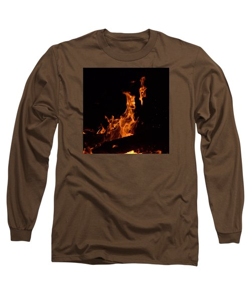 Pareidolia Fire Long Sleeve T-Shirt by Janet Rockburn