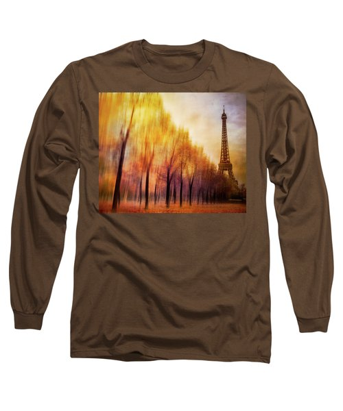 Paris In Autumn Long Sleeve T-Shirt by Marty Garland