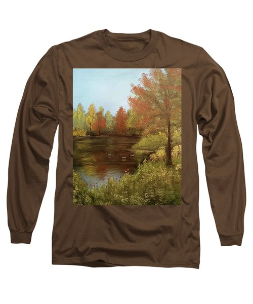 Long Sleeve T-Shirt featuring the mixed media Park In Autumn by Angela Stout
