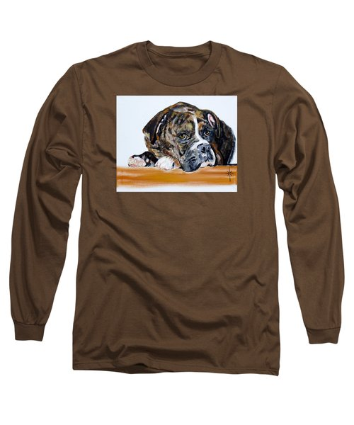 Long Sleeve T-Shirt featuring the painting Parker  by Jodie Marie Anne Richardson Traugott          aka jm-ART