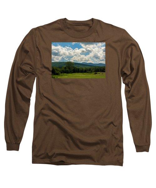 Long Sleeve T-Shirt featuring the photograph Pastoral Landscape With Mountains by Nancy De Flon