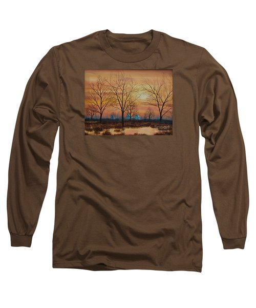 Long Sleeve T-Shirt featuring the painting Patomac River Sunset by AnnaJo Vahle