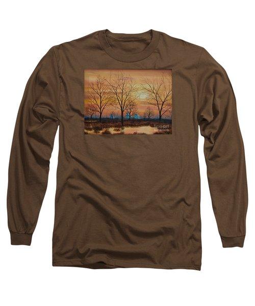 Patomac River Sunset Long Sleeve T-Shirt by AnnaJo Vahle