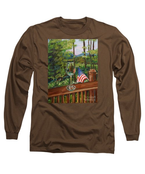 Star Spangled Wine - Fourth Of July - Blue Ridge Mountains Long Sleeve T-Shirt
