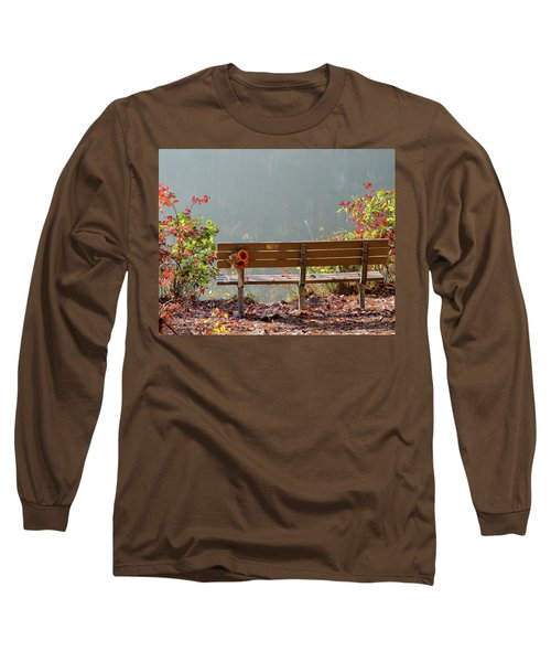 Long Sleeve T-Shirt featuring the photograph Peaceful Bench by George Randy Bass