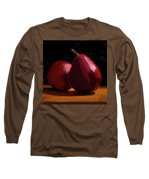 Peach And Pear 01 Long Sleeve T-Shirt by Wally Hampton
