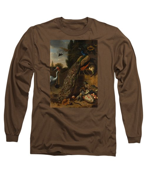 Long Sleeve T-Shirt featuring the painting Peacocks by Melchior d'Hondecoeter