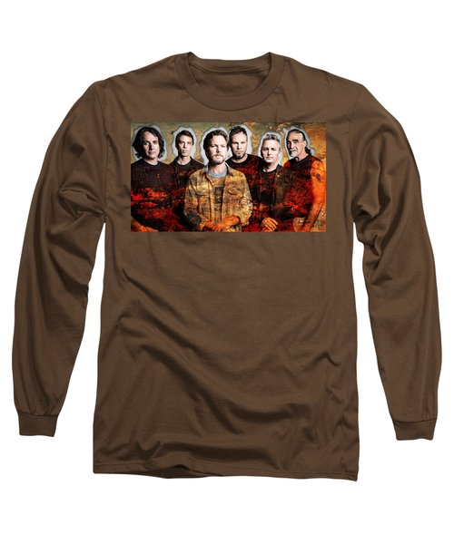 Long Sleeve T-Shirt featuring the mixed media Pearl Jam by Marvin Blaine