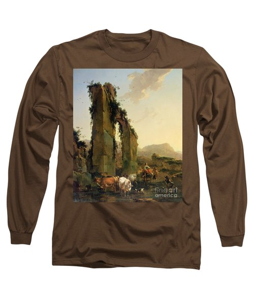 Peasants With Cattle By A Ruined Aqueduct Long Sleeve T-Shirt