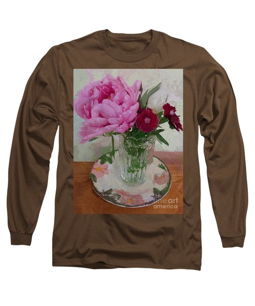 Peonies With Sweet Williams Long Sleeve T-Shirt by Alexis Rotella