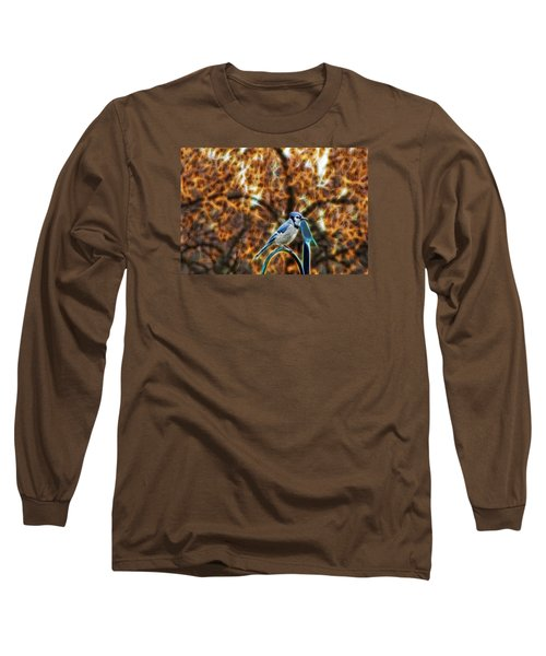 Long Sleeve T-Shirt featuring the photograph Perched Jay by Cameron Wood