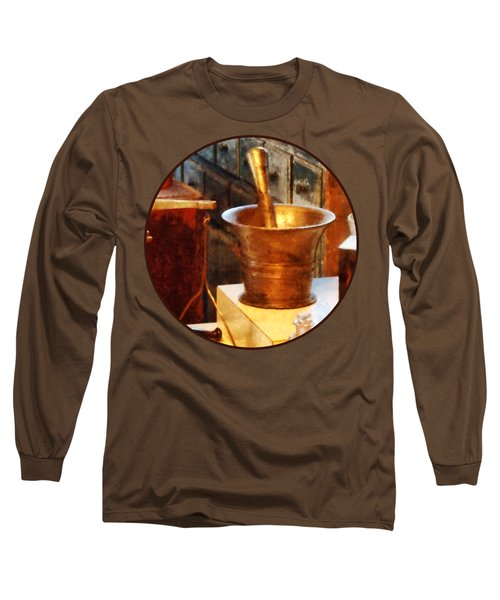 Long Sleeve T-Shirt featuring the photograph Pharmacist - Brass Mortar And Pestle by Susan Savad