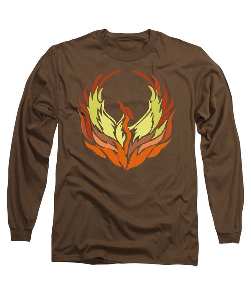 Phoenix Bird Long Sleeve T-Shirt by Priscilla Wolfe