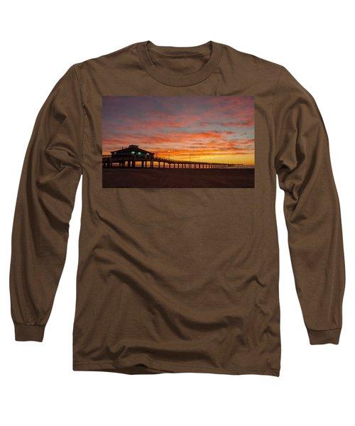 Pier At Sunrise Port Aransas Tx Long Sleeve T-Shirt