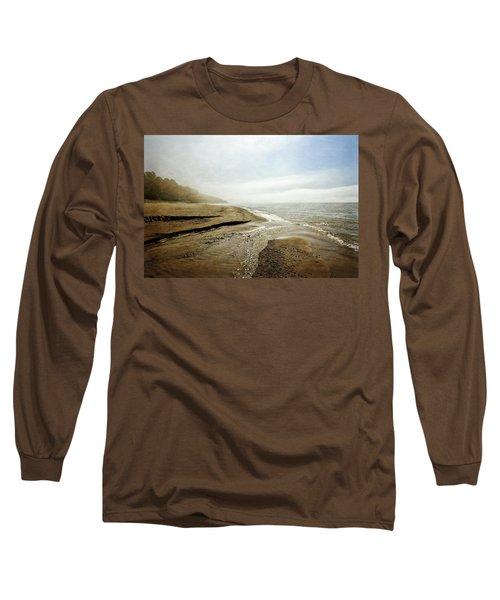 Pier Cove Creek Mouth At Lake Michigan Long Sleeve T-Shirt