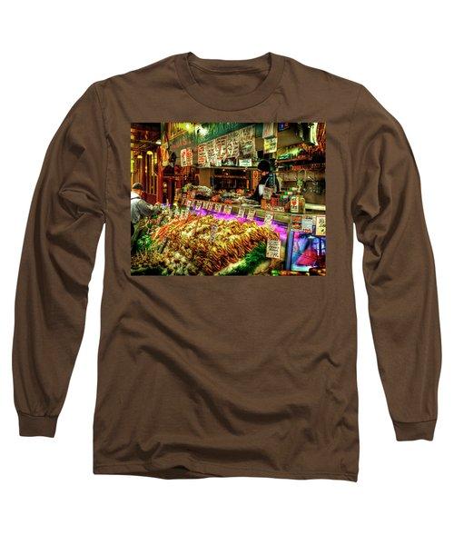 Pike Market Fresh Fish Long Sleeve T-Shirt by Greg Sigrist