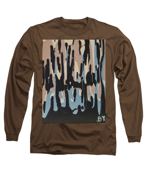 Pink Blue And Brown Drips Long Sleeve T-Shirt by Barbara Yearty