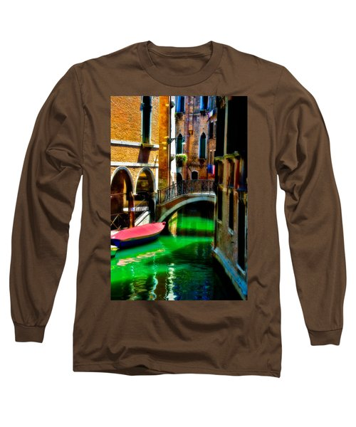 Pink Boat And Canal Long Sleeve T-Shirt by Harry Spitz