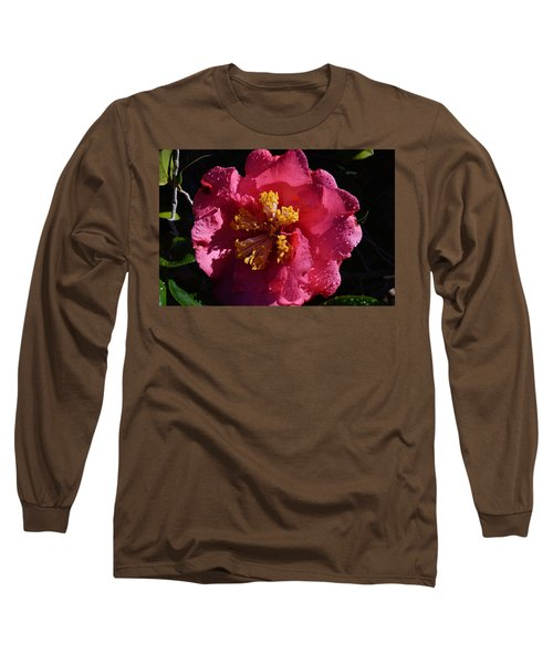 Pink Camillia With Raindrops Long Sleeve T-Shirt by Warren Thompson