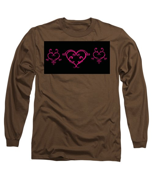 Pink Hearts  Long Sleeve T-Shirt by Swank Photography