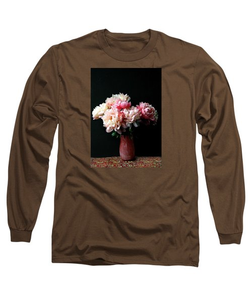 Pink Peonies In Pink Vase Long Sleeve T-Shirt