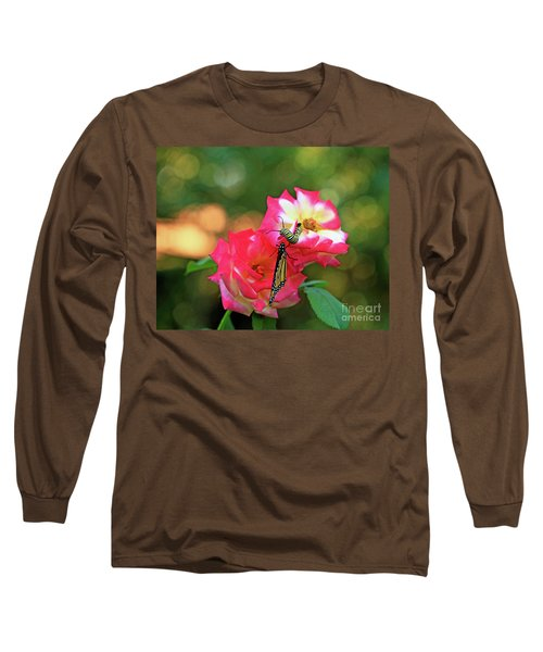 Pink Roses And Butterfly Photo Long Sleeve T-Shirt by Luana K Perez