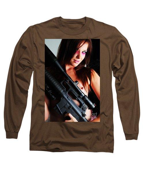 Pink Sniper Long Sleeve T-Shirt by Robert WK Clark