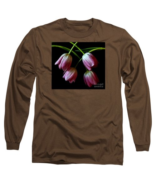 Pink Tulip Weave Long Sleeve T-Shirt by Shirley Mangini